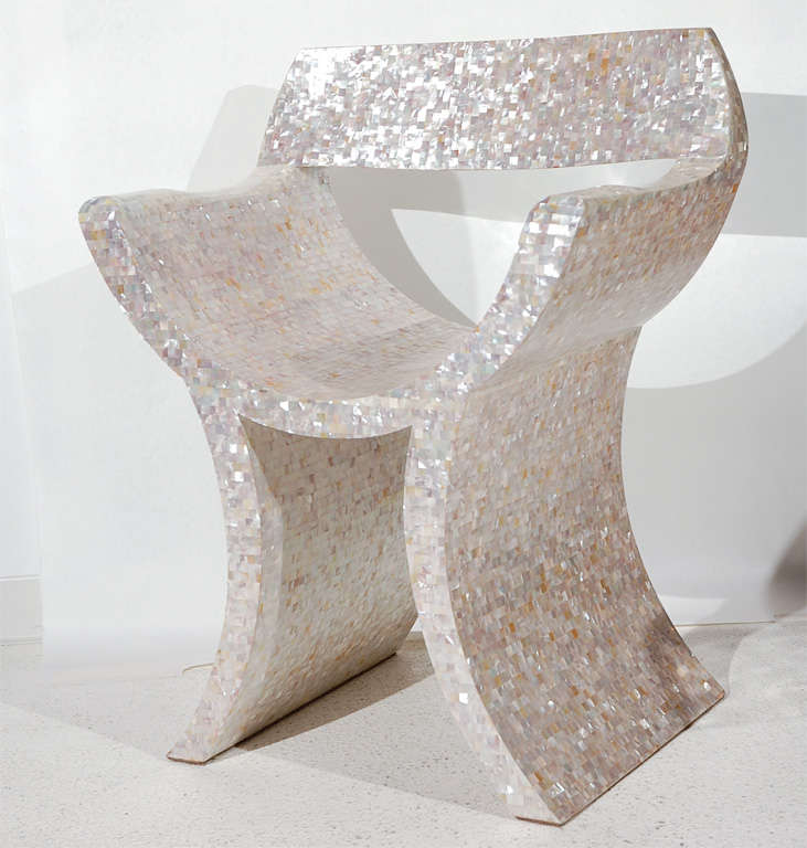 Amazing Mother of Pearl Veneered Armchair For Sale 2