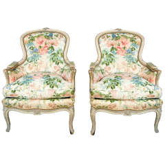Pair of French Louis XVI Bergère Chairs by Jansen