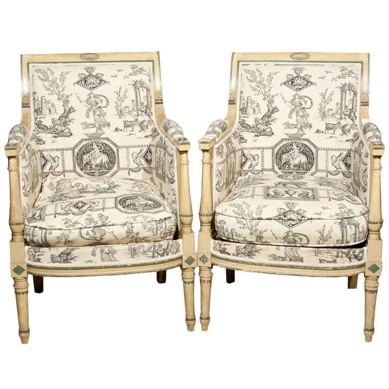 Pair of French Directoire Bergeres by Jansen