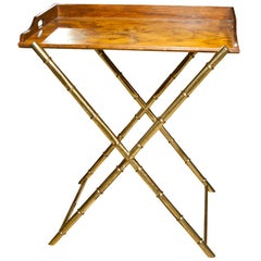Server / Tray Top Table Faux Bamboo Brass Base With Removable Burl Wood Tray