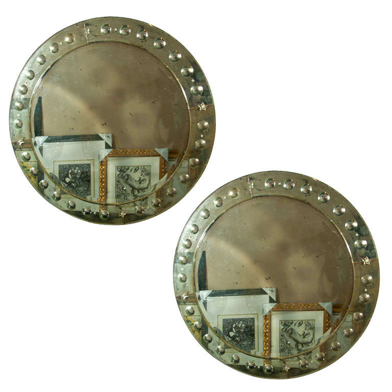 Pair Large Monumental Circular Venetian Style Mirrors W/ Bubble Edge Decoration
