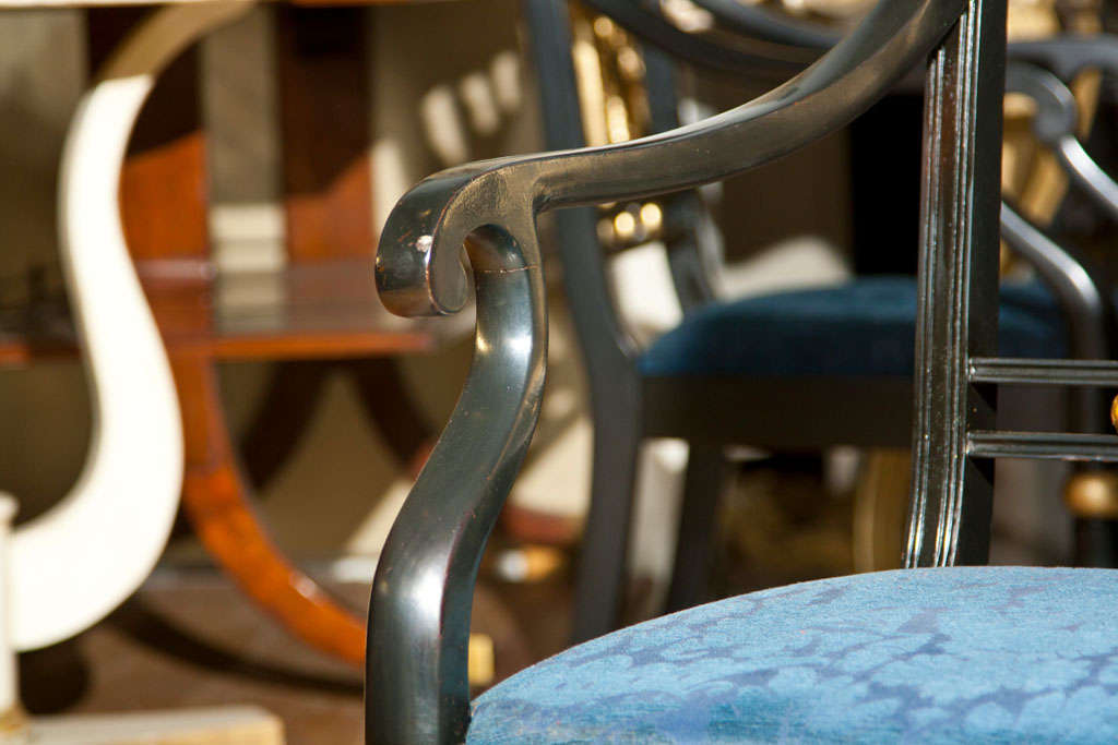 Argentine Set of Eight Maison Jansen Painted Arm Chairs For Sale