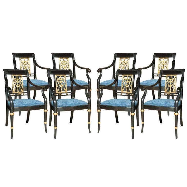 Set of Eight Maison Jansen Painted Arm Chairs For Sale