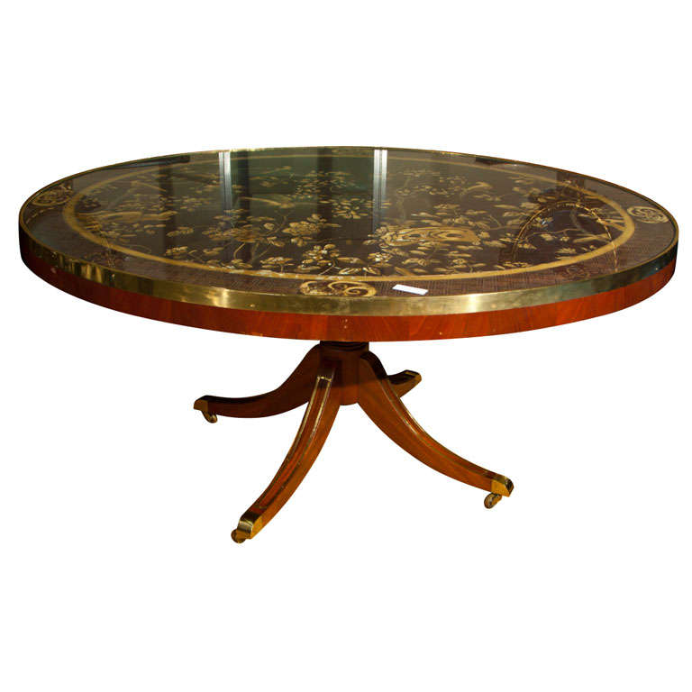chinoiserie tilt top oval dining table at 1stdibs