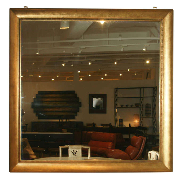 A large square gold leafed mirror by james mont at 1stdibs for Large square mirror