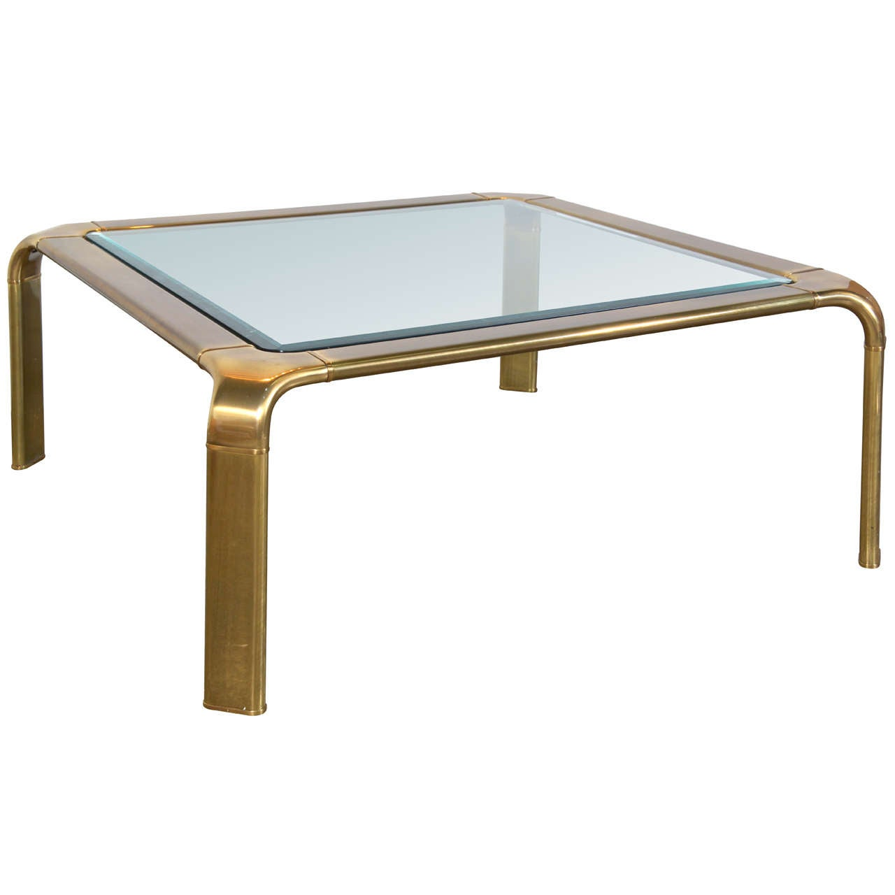 john widdicomb square brass coffee table with glass top at