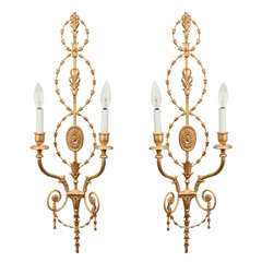 Pair of Gold Gilt Adam Style Sconces