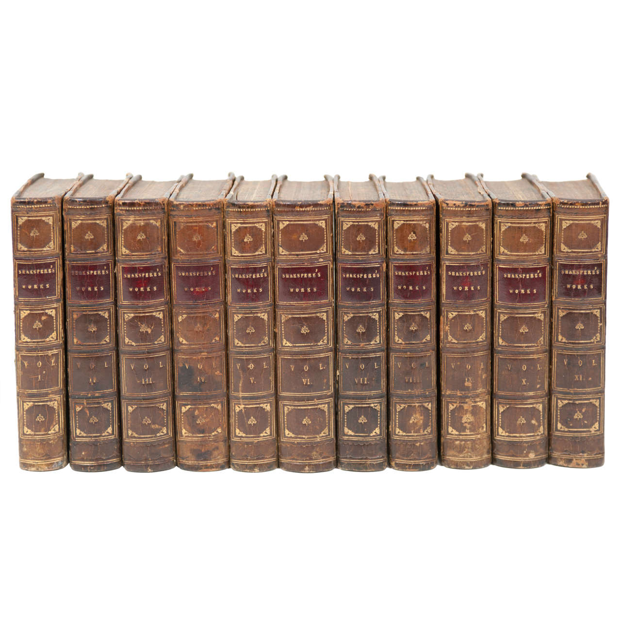 Leather-bound set of William Shakespeare's complete works, 1843