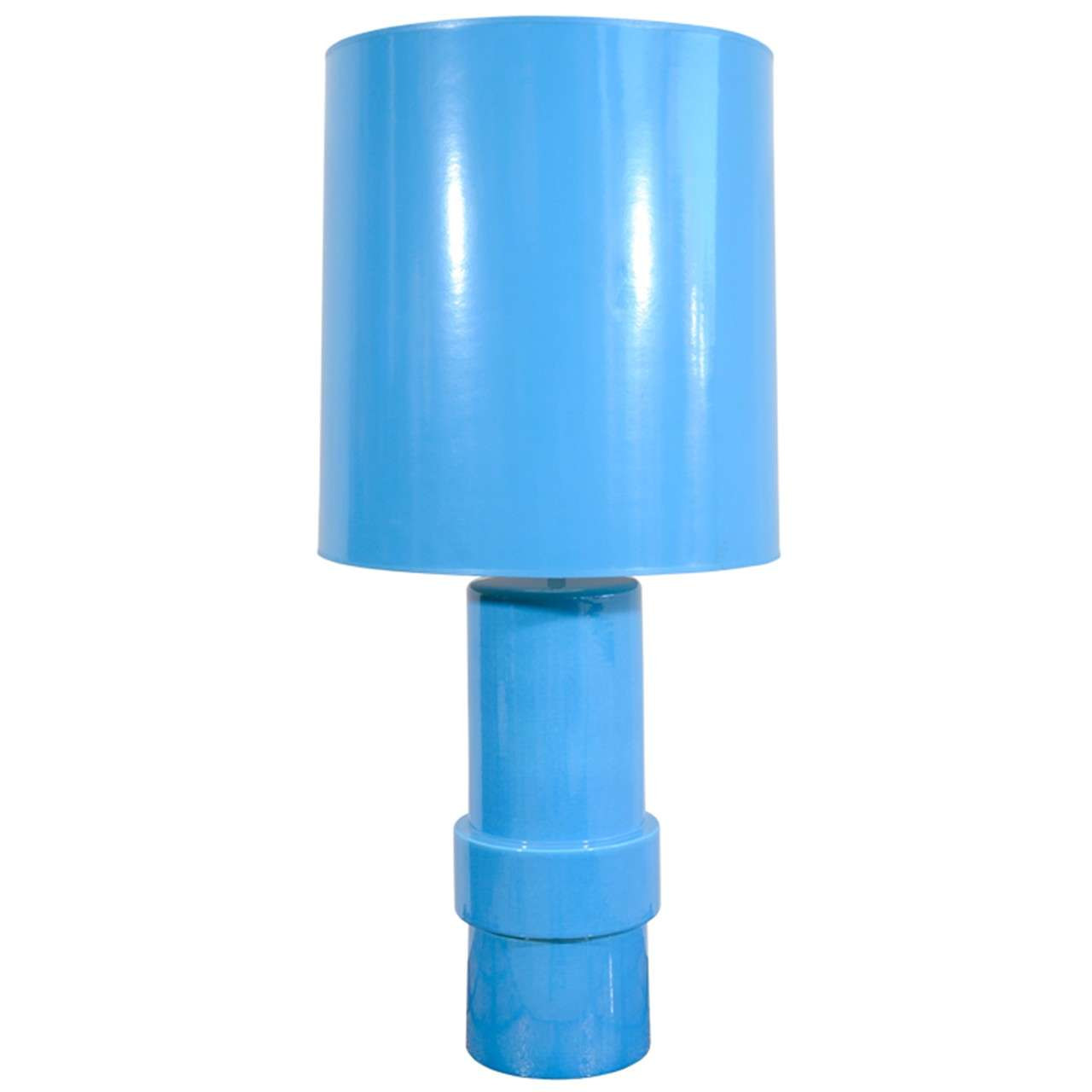 Blue Glazed Stepped Cylindrical Table Lamp and Matching Shade For Sale