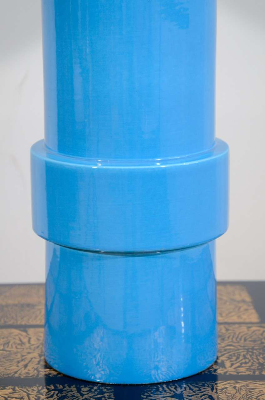 American Blue Glazed Stepped Cylindrical Table Lamp and Matching Shade For Sale
