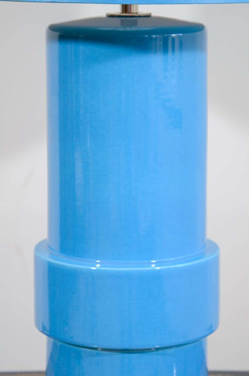 Blue Glazed Stepped Cylindrical Table Lamp and Matching Shade In Excellent Condition For Sale In New York, NY