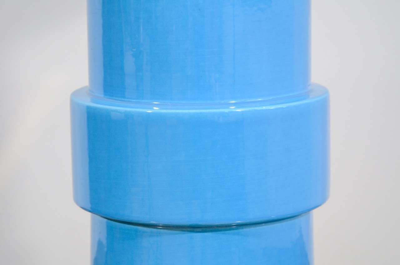 Late 20th Century Blue Glazed Stepped Cylindrical Table Lamp and Matching Shade For Sale