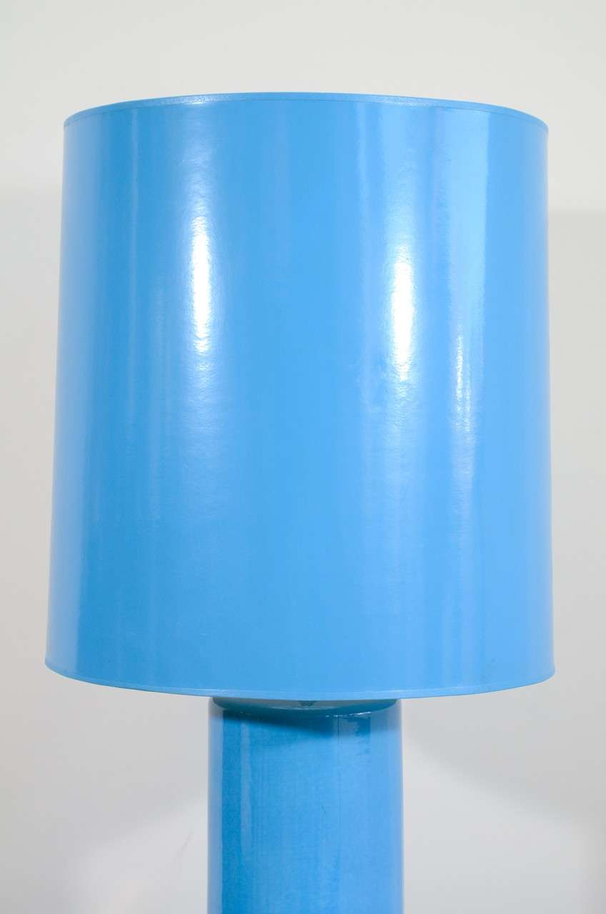 Ceramic Blue Glazed Stepped Cylindrical Table Lamp and Matching Shade For Sale