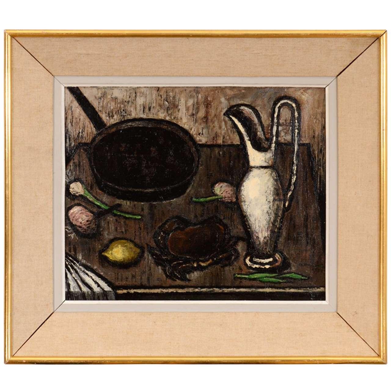 Framed Still Life Oil Painting by A. Duranton 1