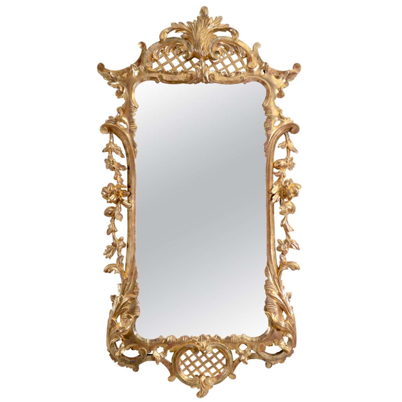 Unusual George II Carved Giltwood Mirror