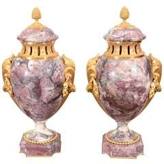 Pair of French Bronze Mounted Urns