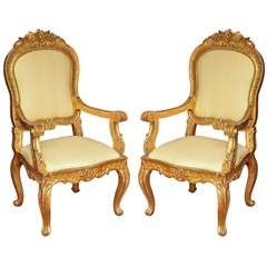 Pair of 19 century  Italian gilt wood armchairs