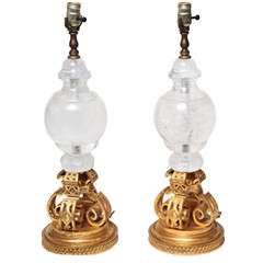 Pair of Bronze and Rock Crystal Lamps