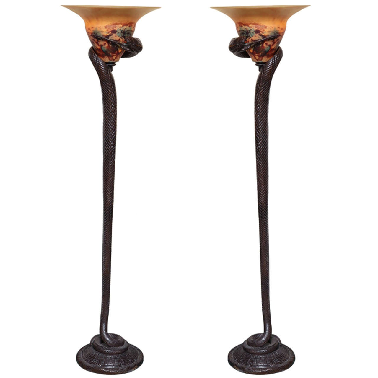 Pair of art deco style bronze and art glass snake form floor lamps pair of art deco style bronze and art glass snake form floor lamps for sale aloadofball Images