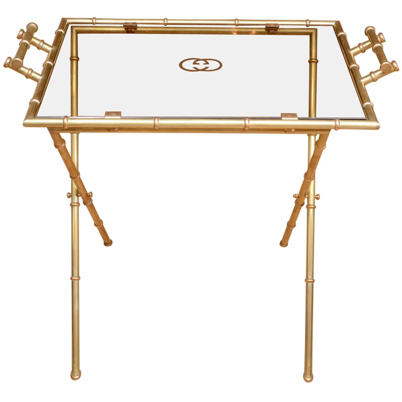 Brass faux bamboo side table by gucci at 1stdibs for Bamboo side table