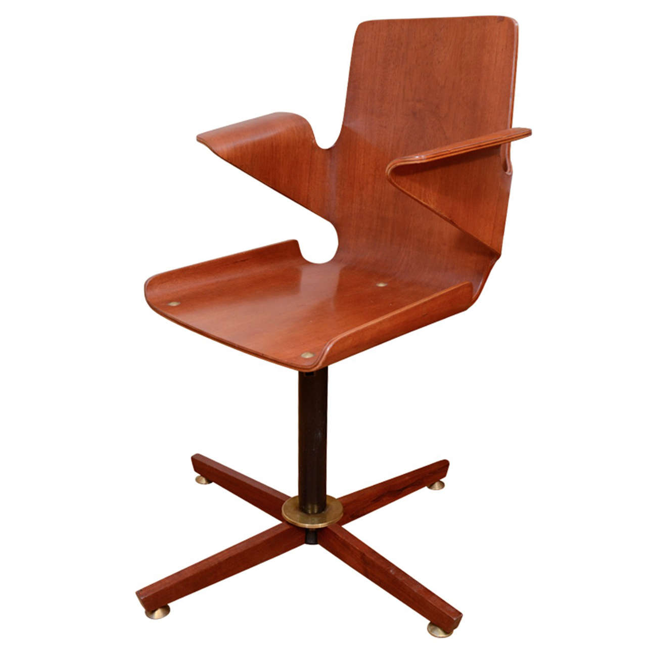 Single bentwood and metal desk chair at 1stdibs
