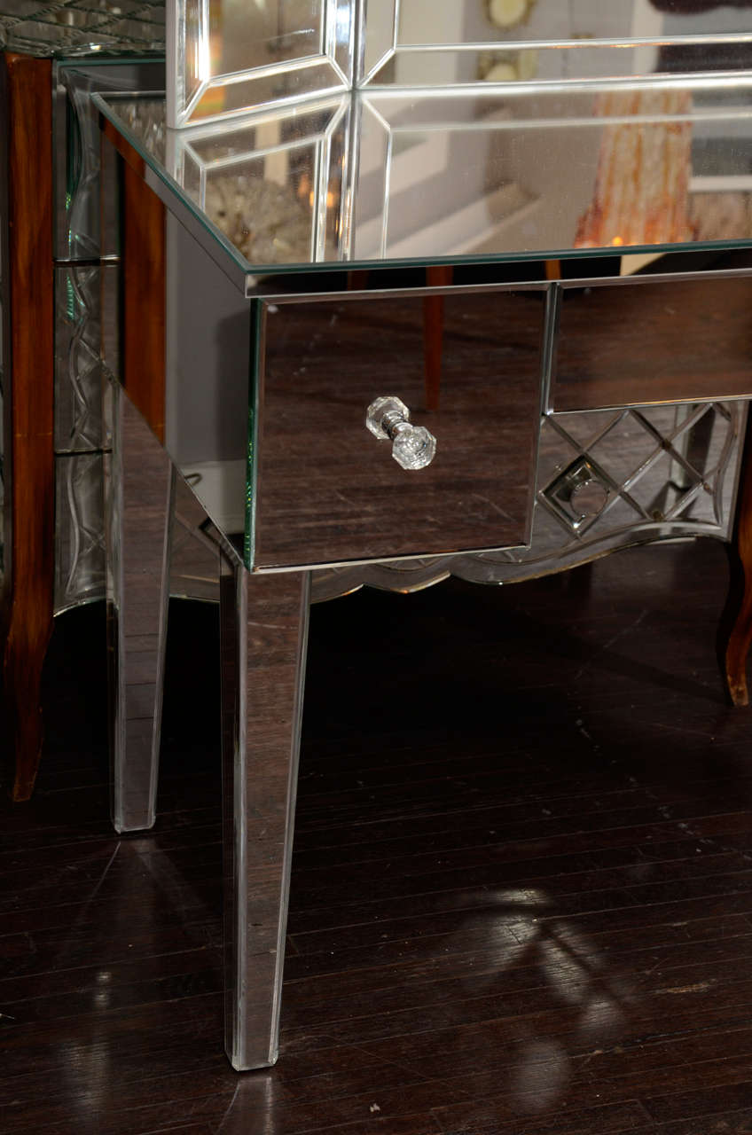 Custom Mirrored Vanity With Tryptic Mirror For Sale At 1stdibs