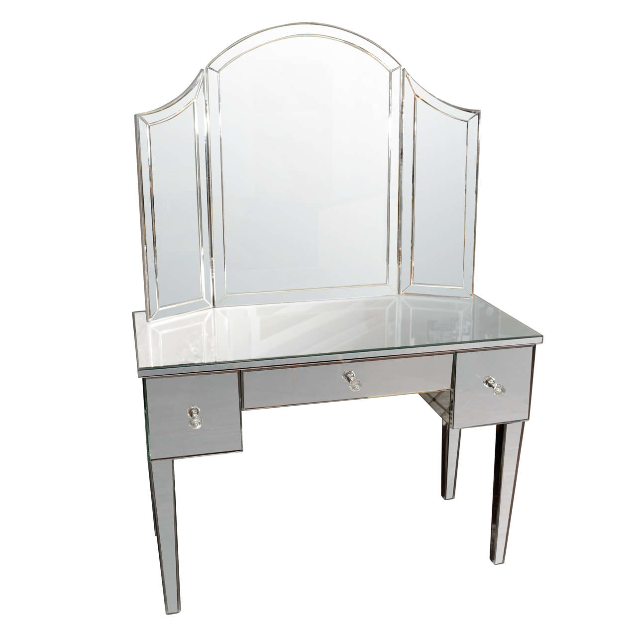 Custom mirrored vanity with tryptic mirror at 1stdibs for Unique vanity mirrors
