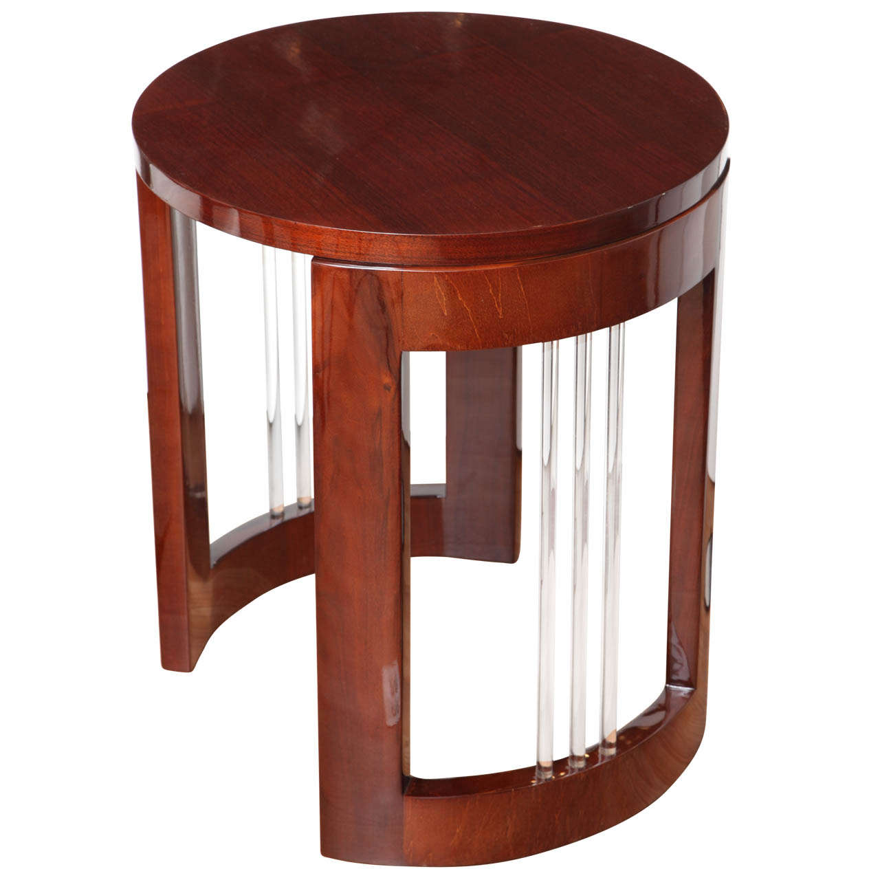 Machine Age Art Deco Round Glass Rod Lamp Table At 1stdibs