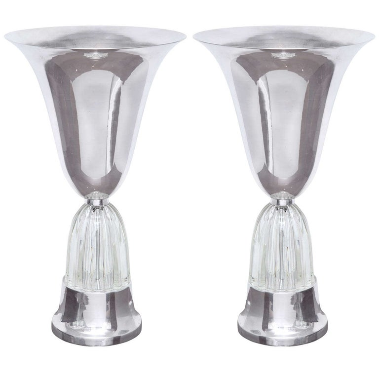 Pair of Art Deco Torchiere Table Lamps For Sale