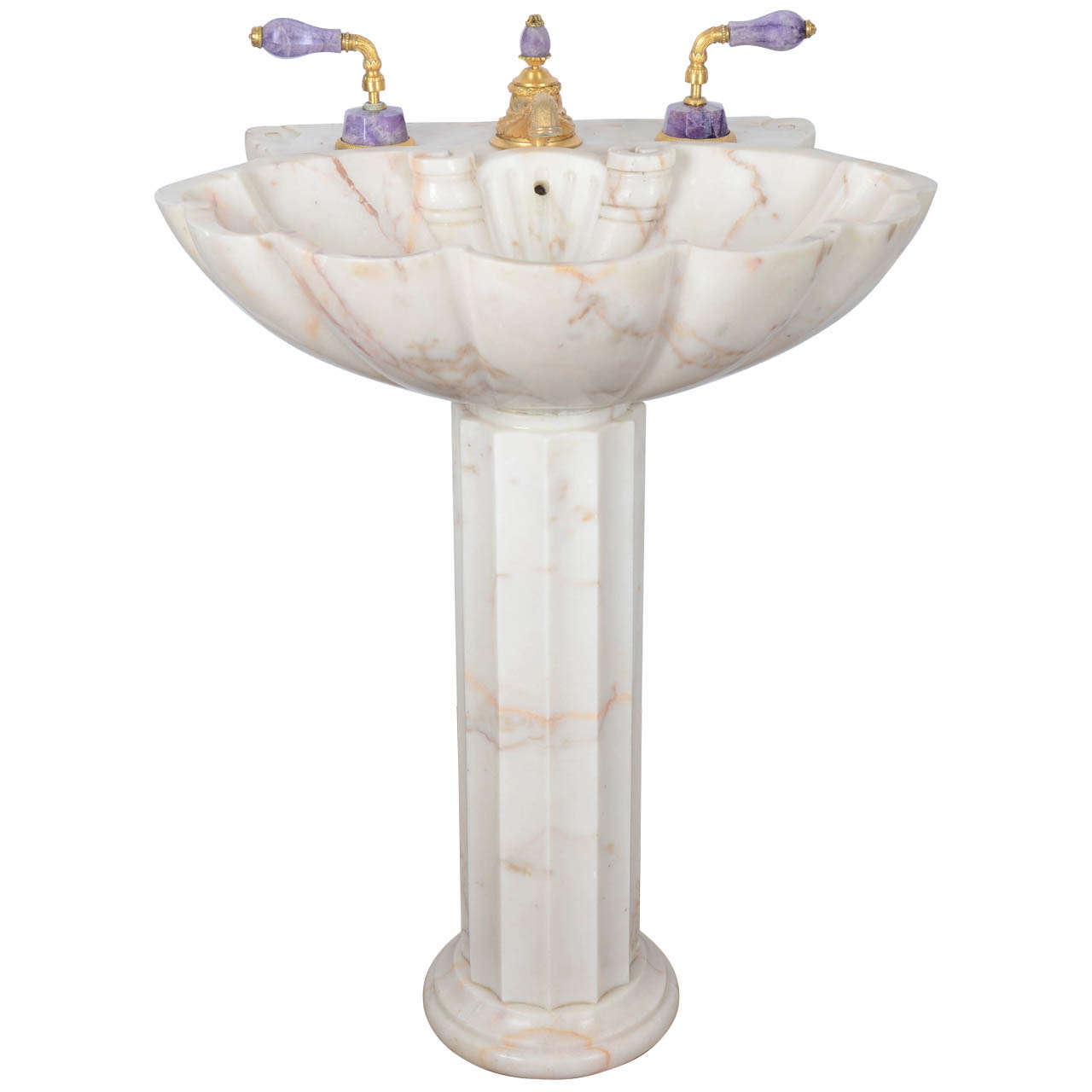 Sherle Wagner Marble Pedestal Sink With Gold Plated Purple