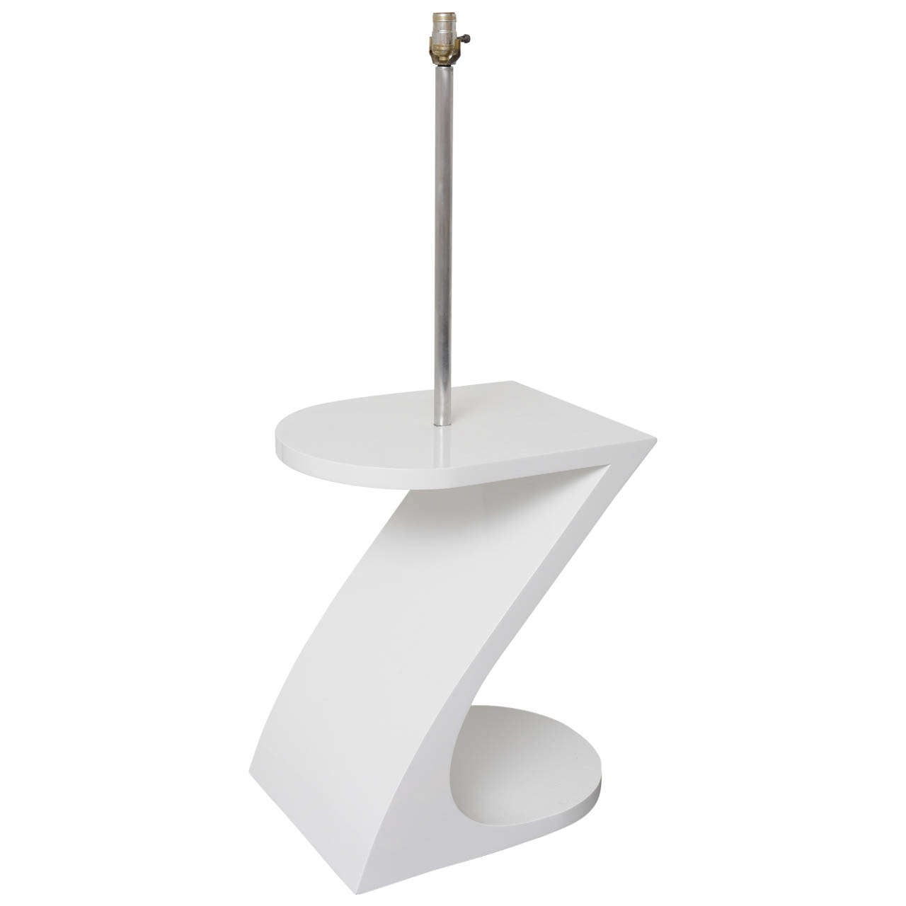 white lacquer floor lamp with tray 1970s at 1stdibs. Black Bedroom Furniture Sets. Home Design Ideas