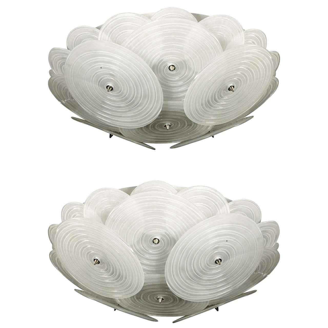 Original Pair Of Murano Glass Ceiling Chandeliers