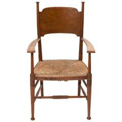 William Birch Arts and Crafts elm armchair, England circa 1890