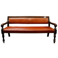 19th Century English Ebnonized and Upholstered Leather Bench from Masonic Lodge