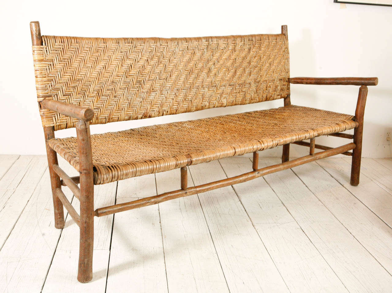 1920s Hickory Settee With Woven Seat And Back At 1stdibs