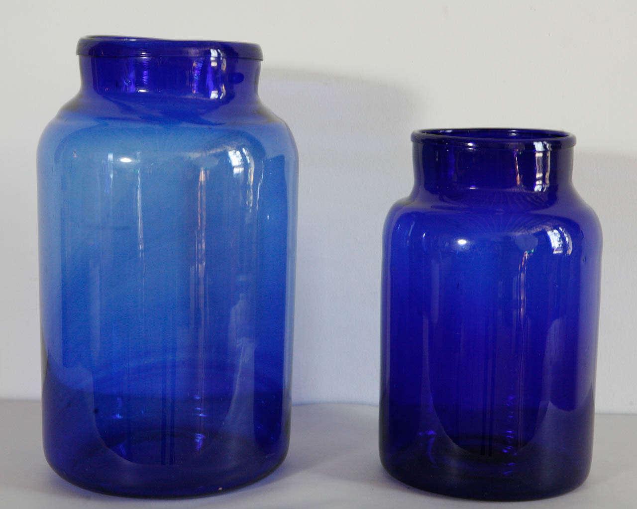 Italian Hand Blown Glass Jars Cobalt