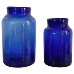 Italian Hand Blown Glass Jars  Cobalt