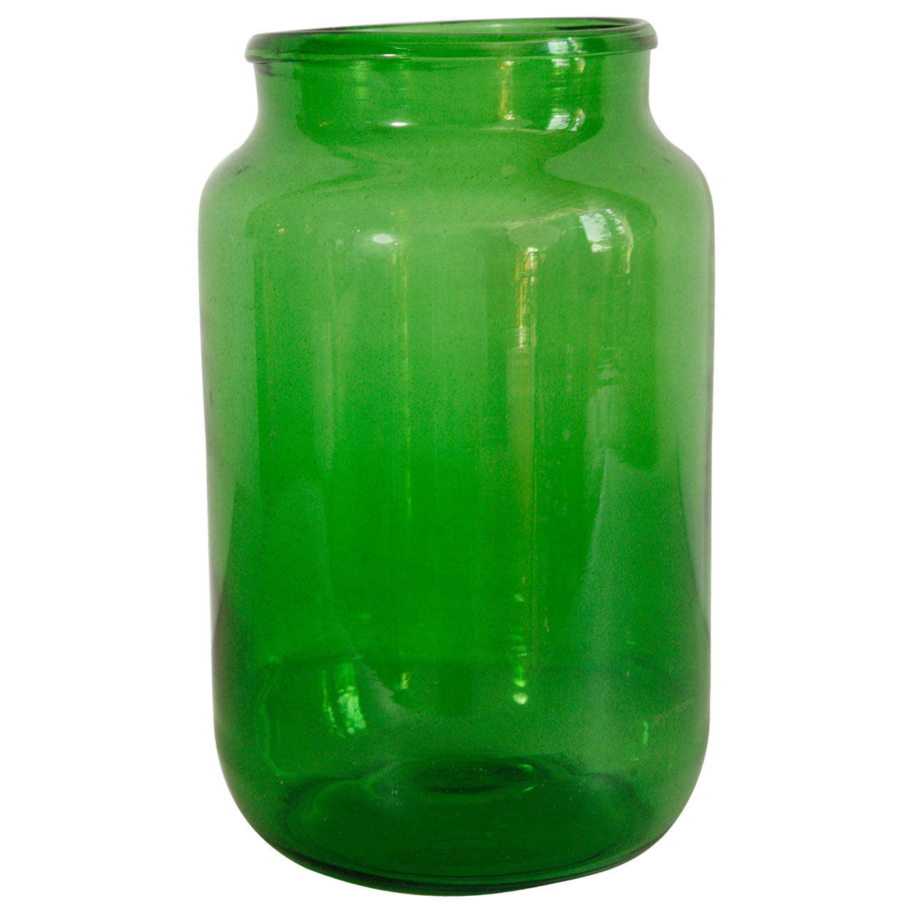 Italian Hand Blown Glass Jars Green 1
