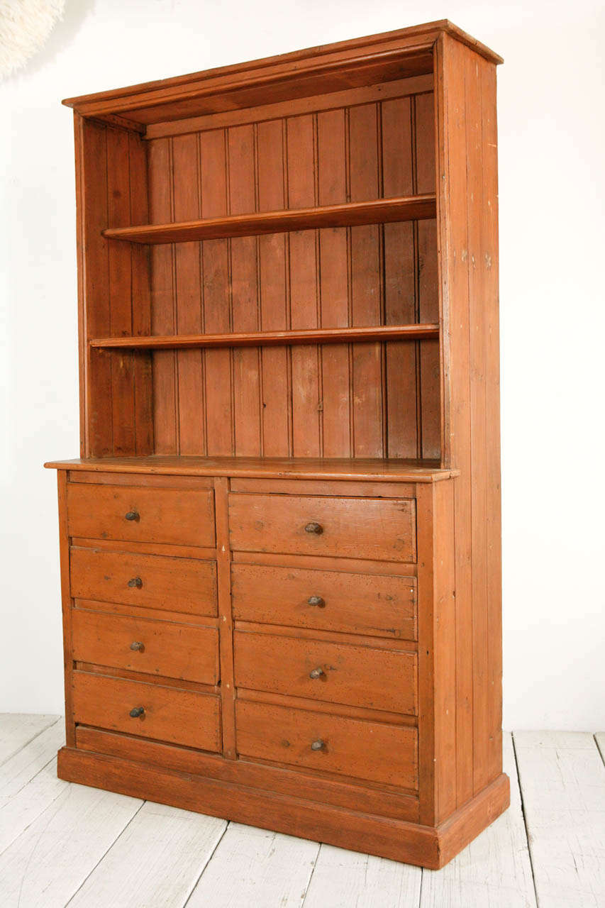 Painted Eight Drawer Pine Hutch at 1stdibs