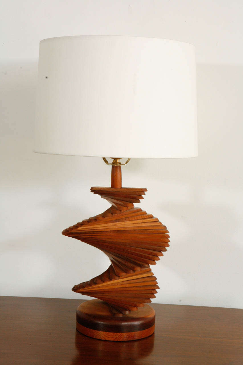 mid century french helix wood table lamp at 1stdibs. Black Bedroom Furniture Sets. Home Design Ideas