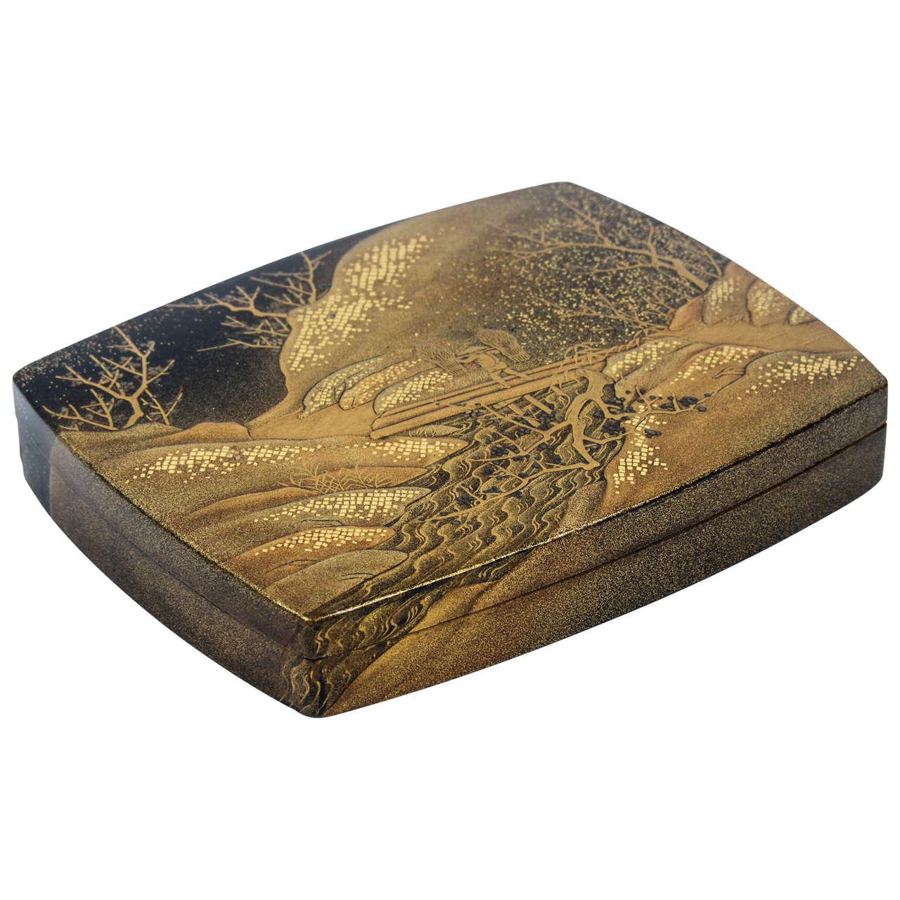 18th Century Gold Lacquered Japanese Kobako Box At 1stdibs