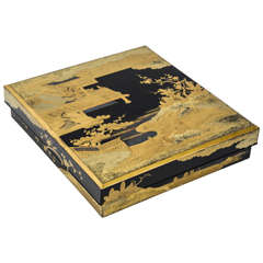 18th Century Black and Gold Japanese Lacquer Suzuribako (Writing Box)