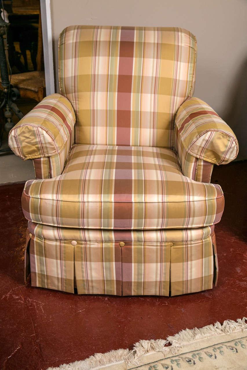 Pair Of Custom Quality Silk Upholstered Plaid Club Chairs