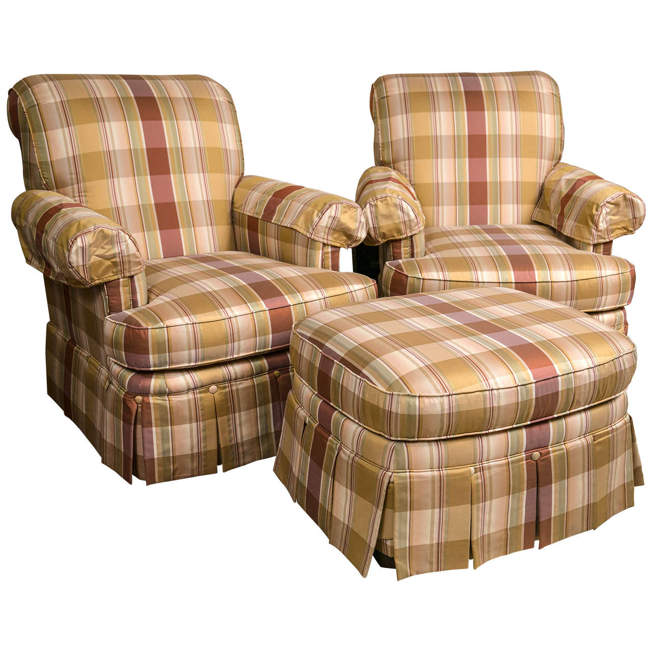 Pair Of Custom Quality Silk Upholstered Plaid Club Chairs