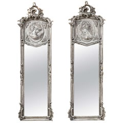 Whitewashed Robin's Egg Blue Gesso Mirrors with Cameo Carved Opposing Women