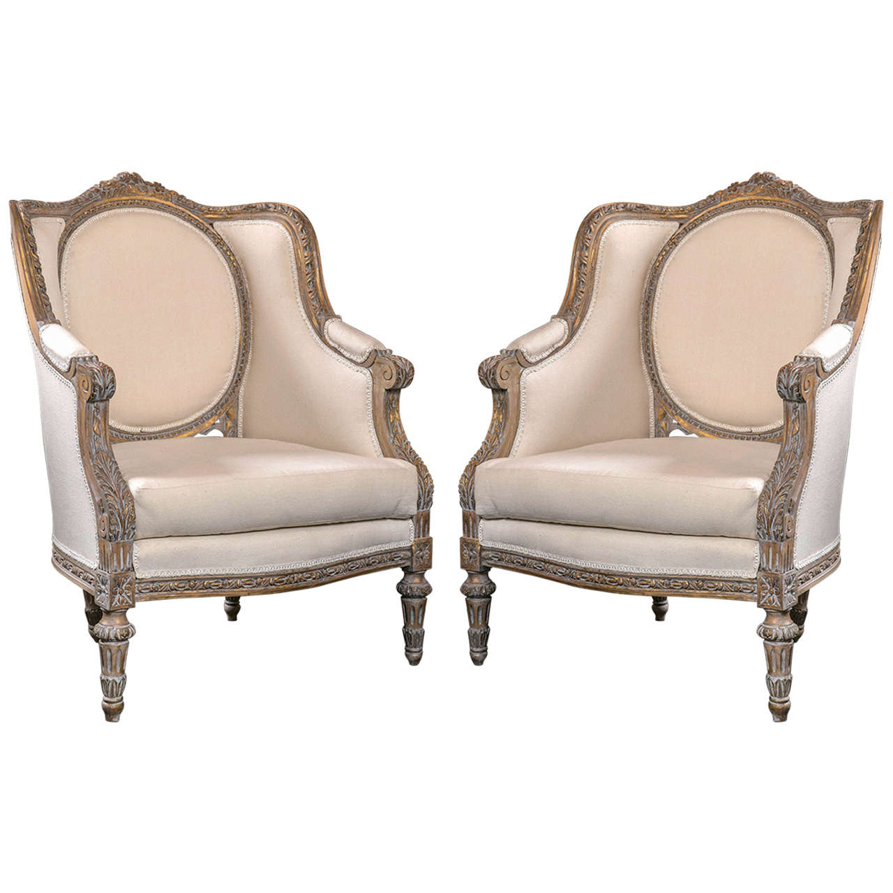 Pair Of Vintage French Louis XVI Style Bergere Chairs For Sale