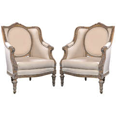 Pair of Vintage French Louis XVI Style Bergere Chairs