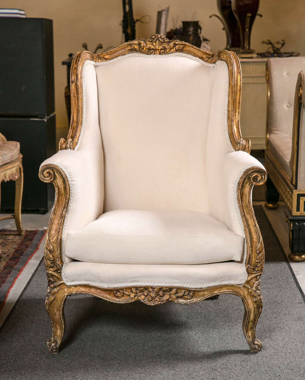 Bergere chair french rococo - Pair Of Vintage French Rococo Style Wingback Bergere Chairs 2