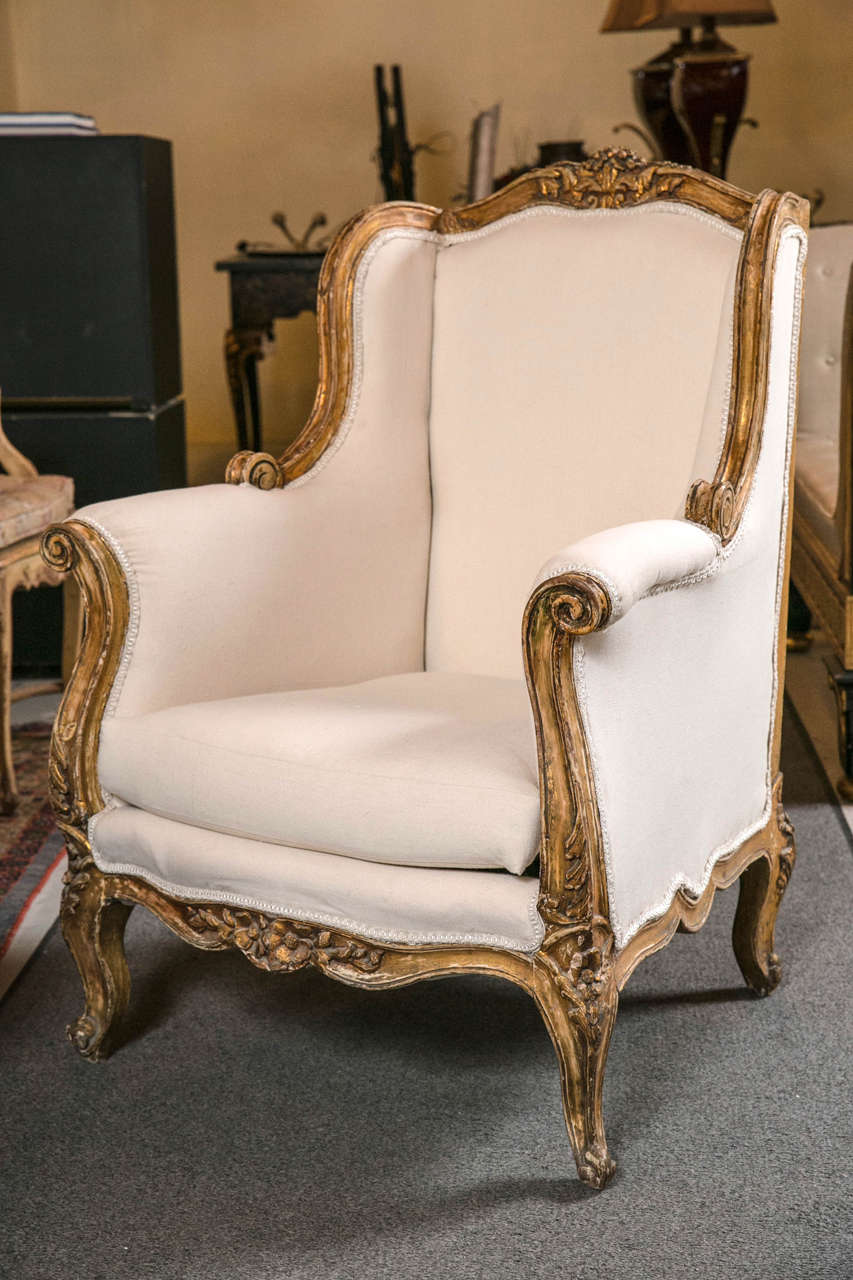 Bergere chair french rococo - Pair Of Vintage French Rococo Style Wingback Bergere Chairs 3