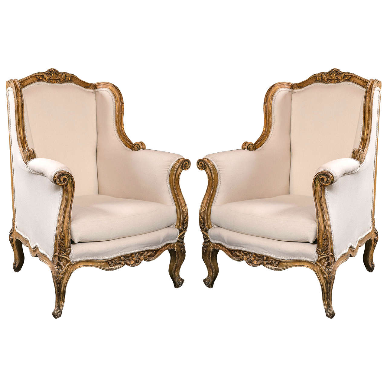 Exceptionnel Pair Of Vintage French Rococo Style Wingback Bergere Chairs For Sale